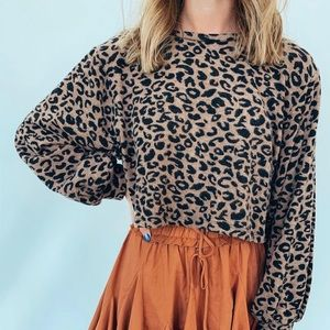 Cropped cheetah print sweater
